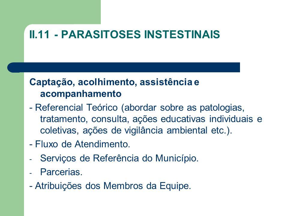II.11 - PARASITOSES INSTESTINAIS