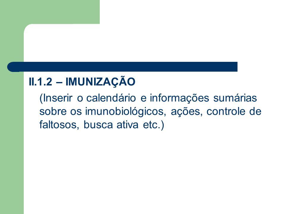II.1.2 – IMUNIZAÇÃO (Inserir o calendário e informações sumárias sobre os imunobiológicos, ações, controle de faltosos, busca ativa etc.)