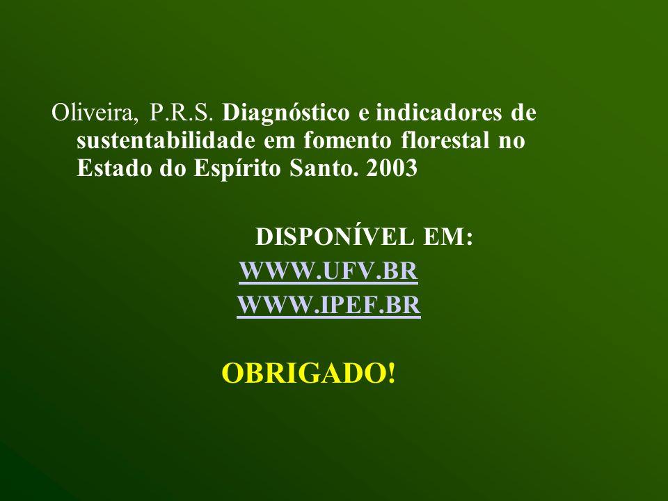 Oliveira, P.R.S. Diagnóstico e indicadores de sustentabilidade em fomento florestal no Estado do Espírito Santo. 2003