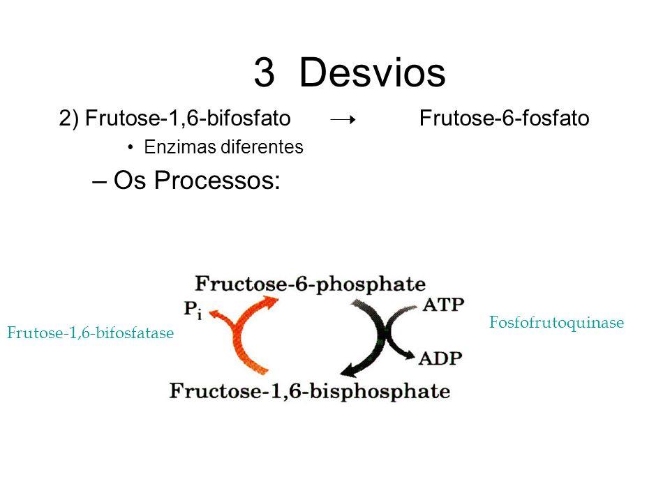 3 Desvios Os Processos: 2) Frutose-1,6-bifosfato Frutose-6-fosfato