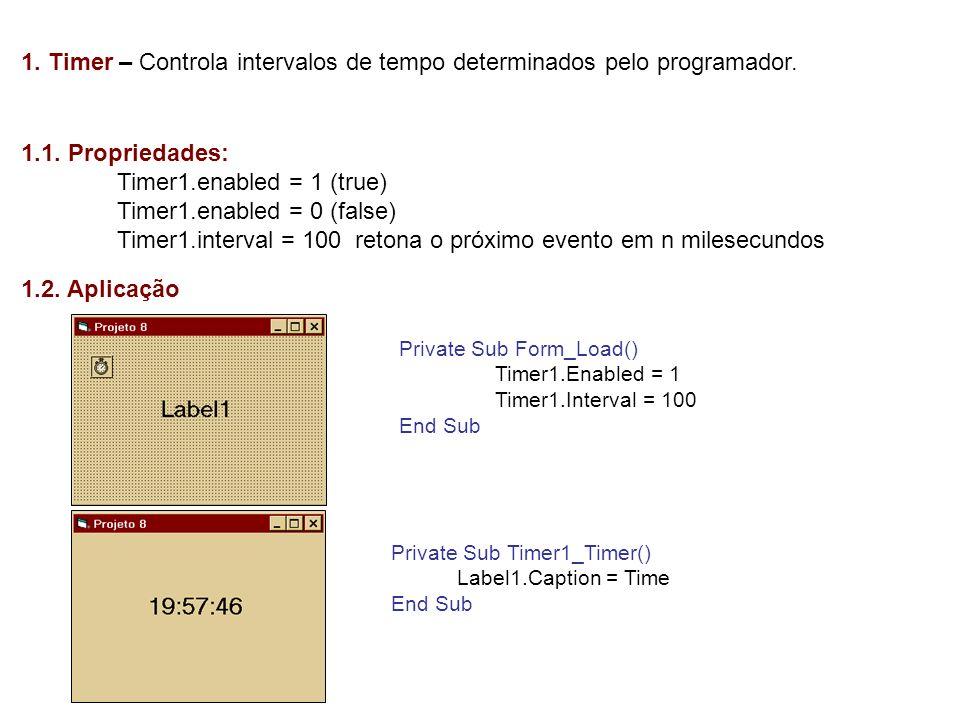 1. Timer – Controla intervalos de tempo determinados pelo programador.