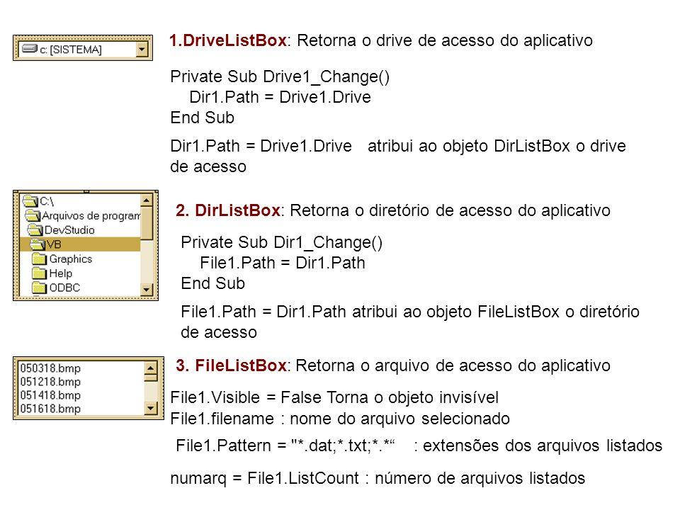 1.DriveListBox: Retorna o drive de acesso do aplicativo