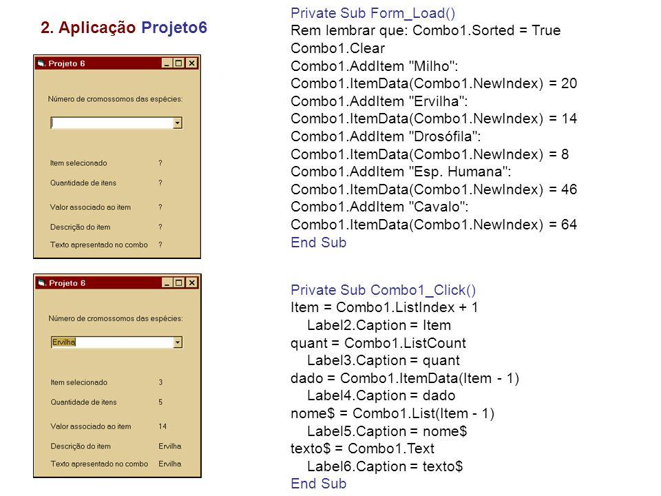 2. Aplicação Projeto6 Private Sub Form_Load()