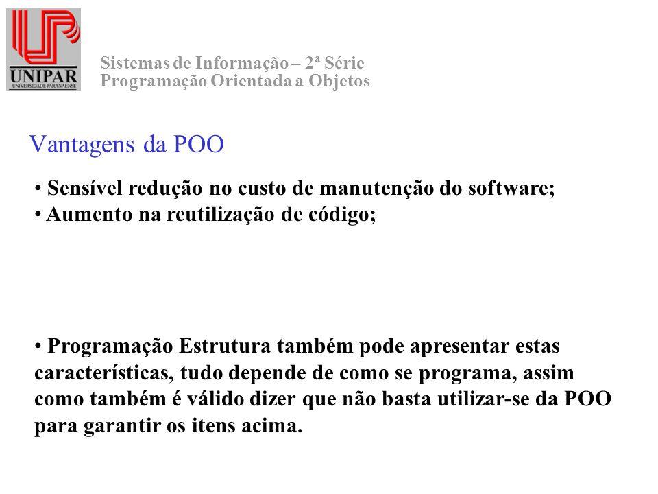 Vantagens da POO Sensível redução no custo de manutenção do software;