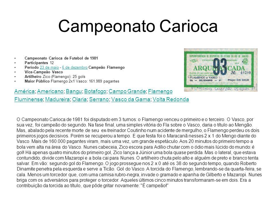 Campeonato Carioca Campeonato Carioca de Futebol de 1981. Participantes 12. Período 23 de maio - 6 de dezembro Campeão Flamengo.