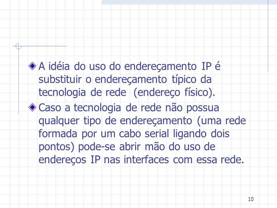 A idéia do uso do endereçamento IP é substituir o endereçamento típico da tecnologia de rede (endereço físico).