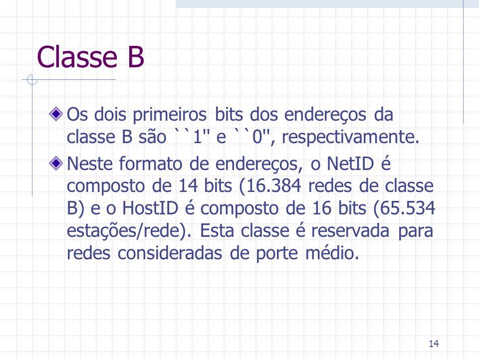 Classe B Os dois primeiros bits dos endereços da classe B são ``1 e ``0 , respectivamente.