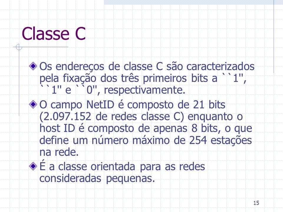 Classe COs endereços de classe C são caracterizados pela fixação dos três primeiros bits a ``1 , ``1 e ``0 , respectivamente.