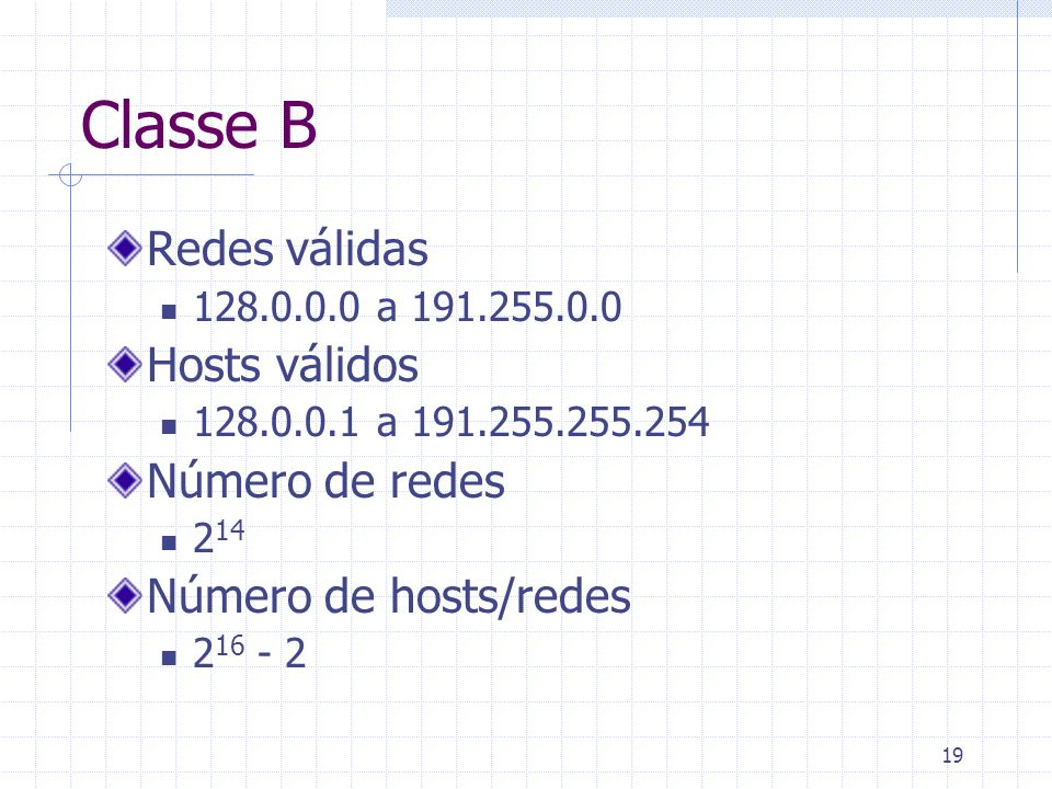 Classe B Redes válidas Hosts válidos Número de redes
