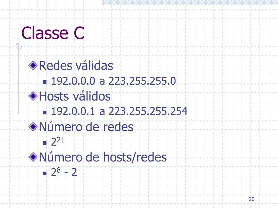 Classe C Redes válidas Hosts válidos Número de redes