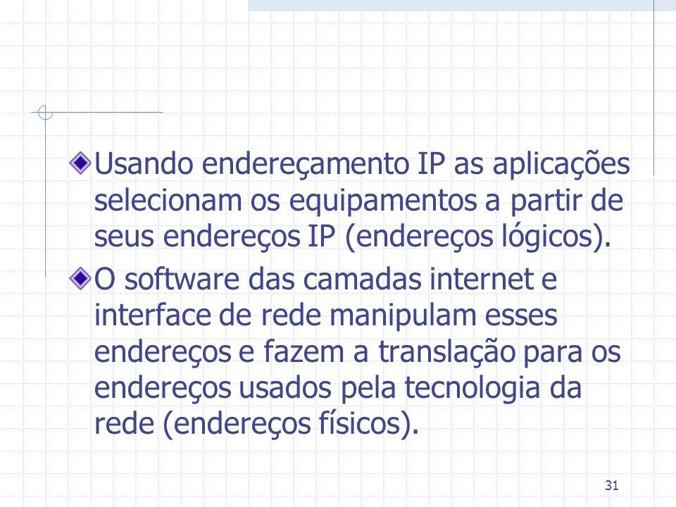 Usando endereçamento IP as aplicações selecionam os equipamentos a partir de seus endereços IP (endereços lógicos).
