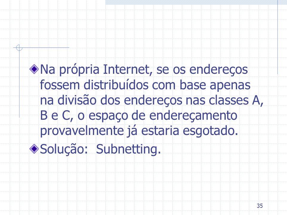 Na própria Internet, se os endereços fossem distribuídos com base apenas na divisão dos endereços nas classes A, B e C, o espaço de endereçamento provavelmente já estaria esgotado.