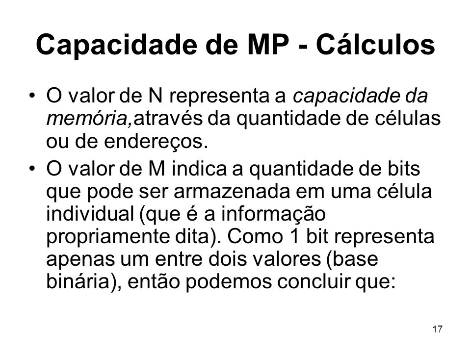 Capacidade de MP - Cálculos