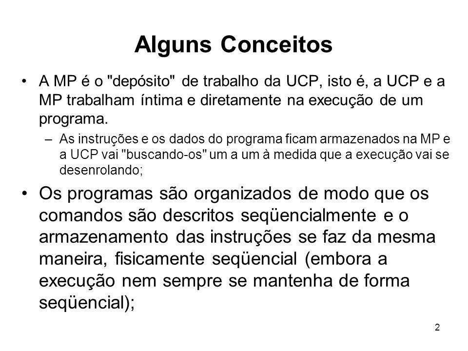 Alguns Conceitos A MP é o depósito de trabalho da UCP, isto é, a UCP e a MP trabalham íntima e diretamente na execução de um programa.
