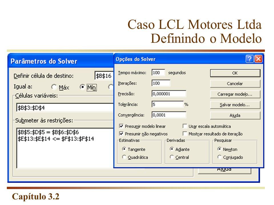 Caso LCL Motores Ltda Definindo o Modelo