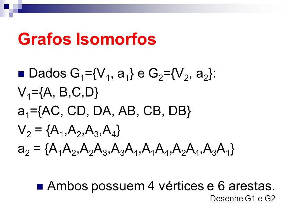 Grafos Isomorfos Dados G1={V1, a1} e G2={V2, a2}: V1={A, B,C,D}