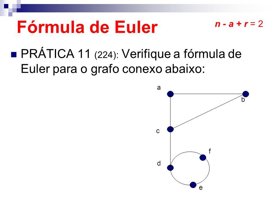 Fórmula de Euler n - a + r = 2. PRÁTICA 11 (224): Verifique a fórmula de Euler para o grafo conexo abaixo: