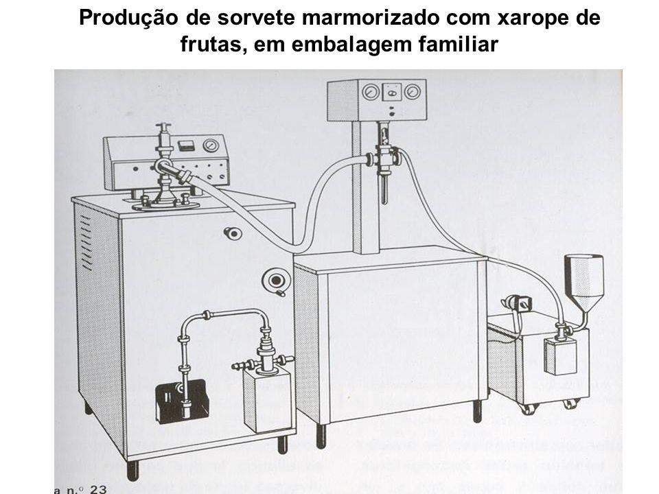 Produção de sorvete marmorizado com xarope de frutas, em embalagem familiar