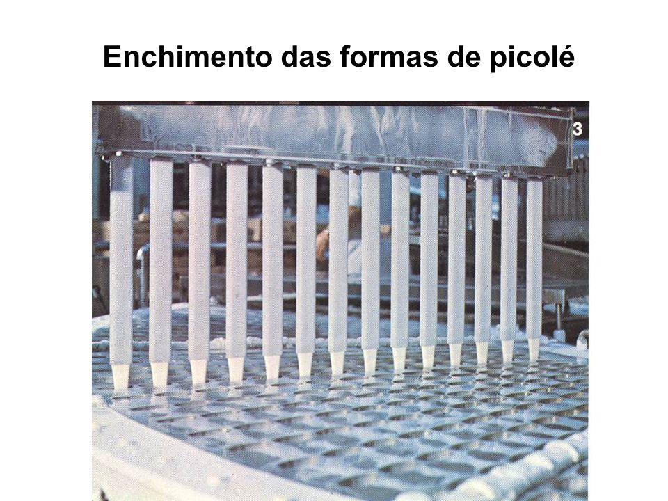 Enchimento das formas de picolé