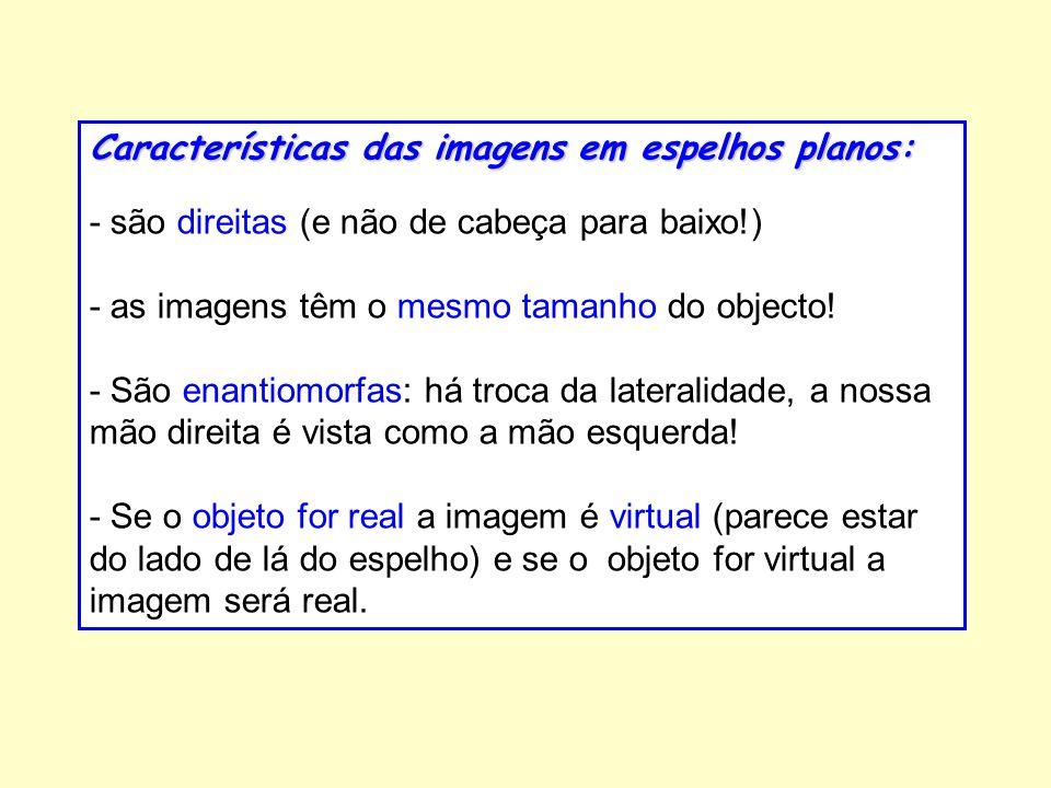 Características das imagens em espelhos planos:
