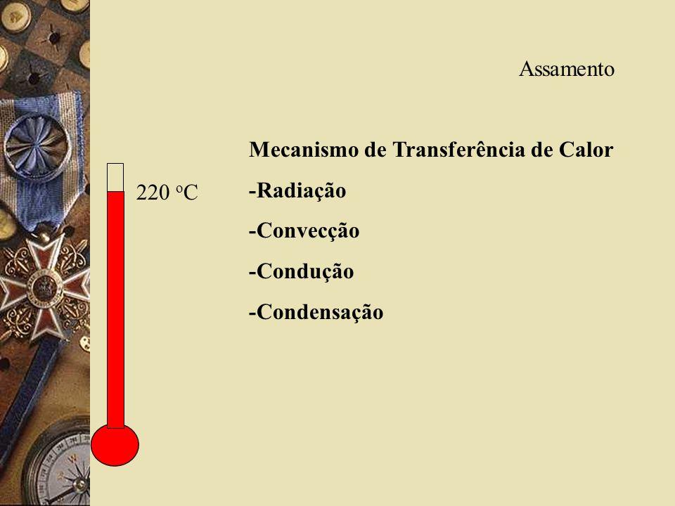 Assamento Mecanismo de Transferência de Calor -Radiação -Convecção -Condução -Condensação 220 oC
