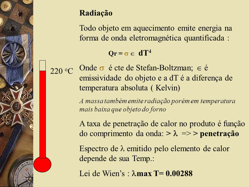 Espectro de  emitido pelo elemento de calor depende de sua Temp.: