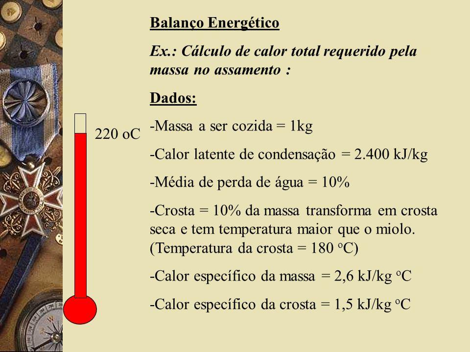 Balanço Energético Ex.: Cálculo de calor total requerido pela massa no assamento : Dados: -Massa a ser cozida = 1kg.