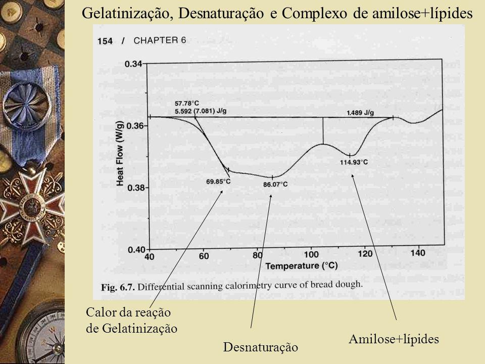 Gelatinização, Desnaturação e Complexo de amilose+lípides