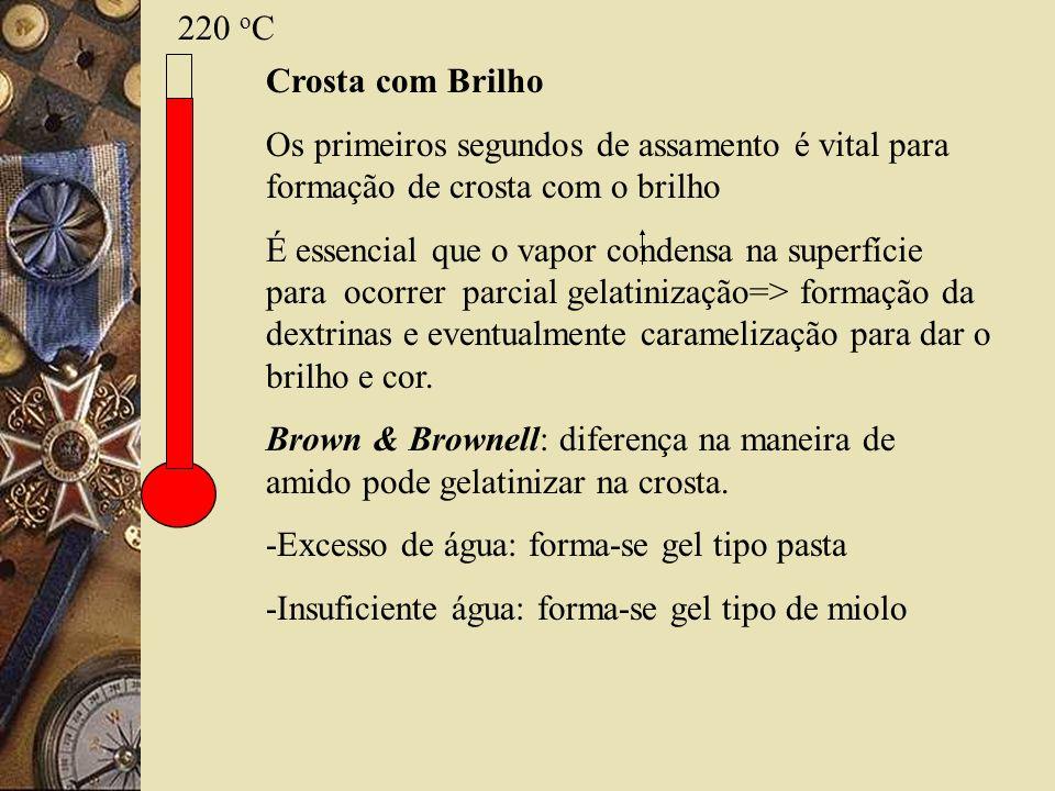 220 oC Crosta com Brilho. Os primeiros segundos de assamento é vital para formação de crosta com o brilho.