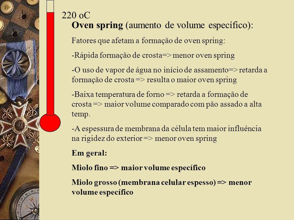 Oven spring (aumento de volume específico):