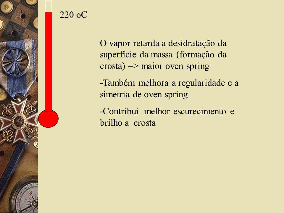 220 oC O vapor retarda a desidratação da superfície da massa (formação da crosta) => maior oven spring.