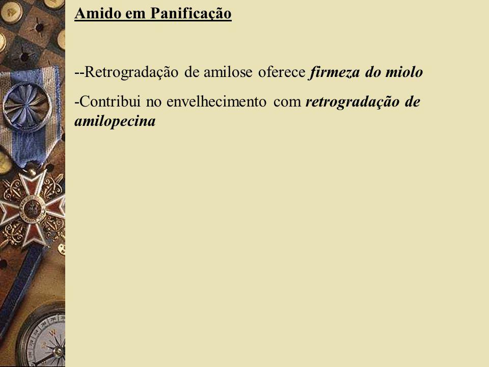 Amido em Panificação --Retrogradação de amilose oferece firmeza do miolo.