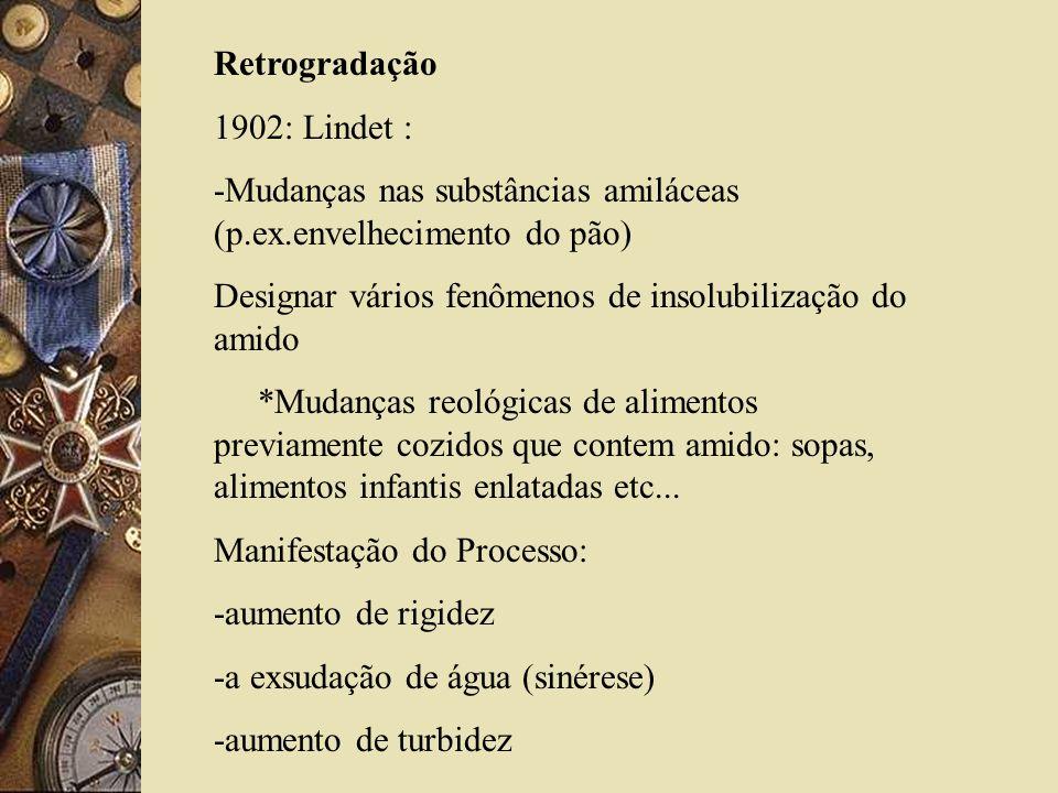 Retrogradação 1902: Lindet : -Mudanças nas substâncias amiláceas (p.ex.envelhecimento do pão)