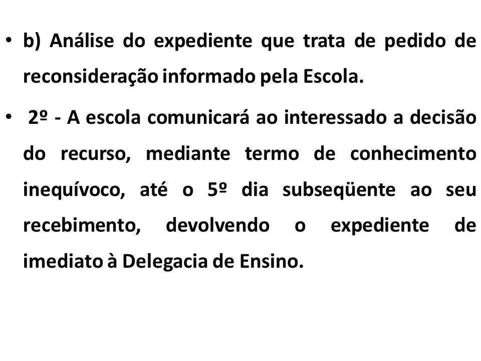 b) Análise do expediente que trata de pedido de reconsideração informado pela Escola.