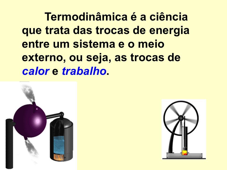 Termodinâmica é a ciência que trata das trocas de energia entre um sistema e o meio externo, ou seja, as trocas de calor e trabalho.