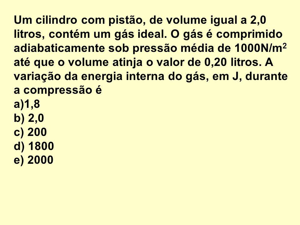 Um cilindro com pistão, de volume igual a 2,0 litros, contém um gás ideal. O gás é comprimido adiabaticamente sob pressão média de 1000N/m2 até que o volume atinja o valor de 0,20 litros. A variação da energia interna do gás, em J, durante a compressão é