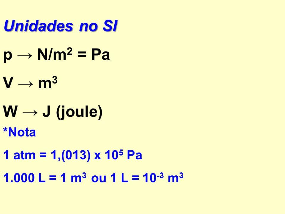 Unidades no SI p → N/m2 = Pa V → m3 W → J (joule) *Nota