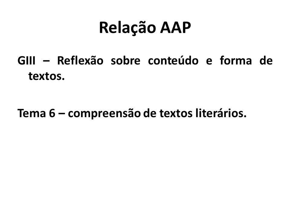 Relação AAP GIII – Reflexão sobre conteúdo e forma de textos.