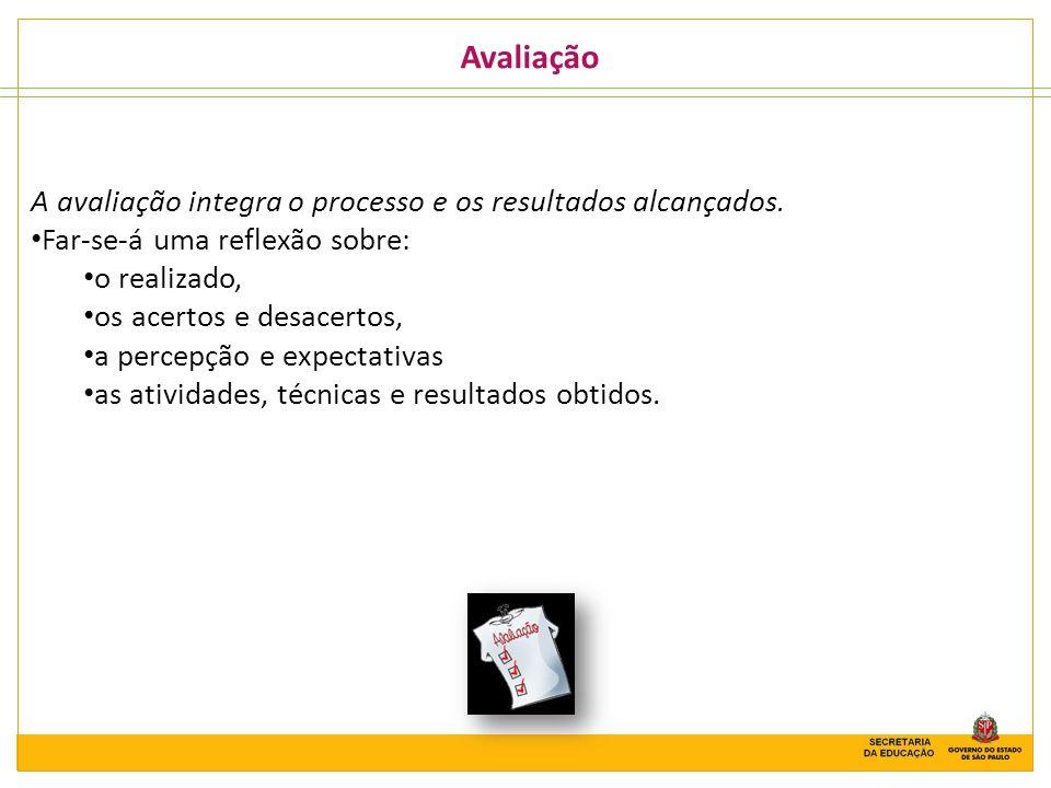 Avaliação A avaliação integra o processo e os resultados alcançados.