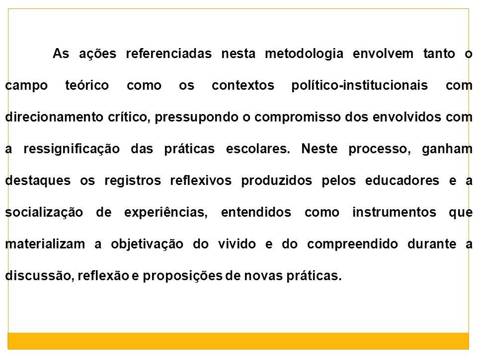 As ações referenciadas nesta metodologia envolvem tanto o campo teórico como os contextos político-institucionais com direcionamento crítico, pressupondo o compromisso dos envolvidos com a ressignificação das práticas escolares. Neste processo, ganham destaques os registros reflexivos produzidos pelos educadores e a socialização de experiências, entendidos como instrumentos que materializam a objetivação do vivido e do compreendido durante a discussão, reflexão e proposições de novas práticas.