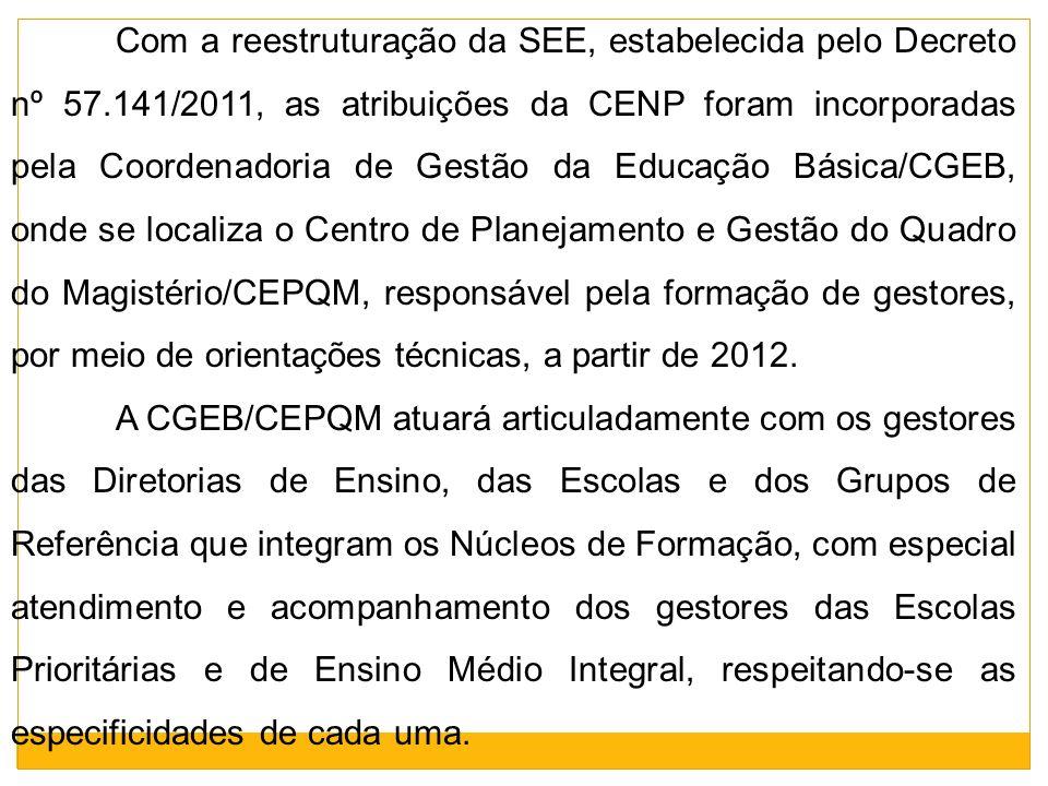 Com a reestruturação da SEE, estabelecida pelo Decreto nº 57