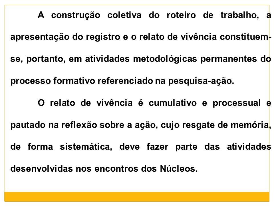 A construção coletiva do roteiro de trabalho, a apresentação do registro e o relato de vivência constituem-se, portanto, em atividades metodológicas permanentes do processo formativo referenciado na pesquisa-ação.