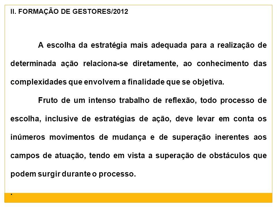 II. FORMAÇÃO DE GESTORES/2012