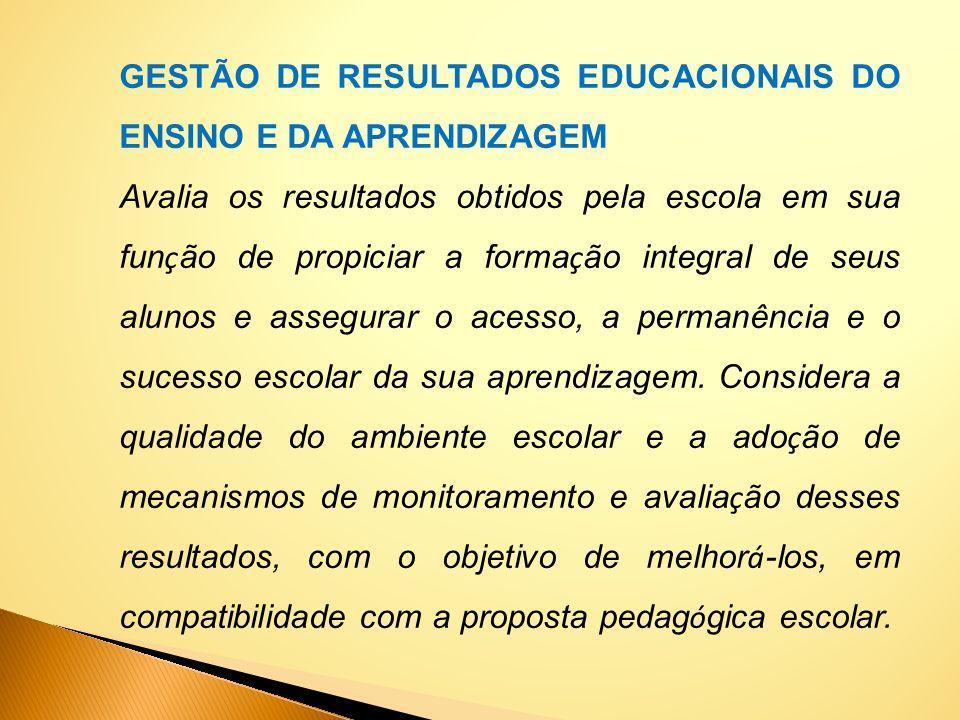 GESTÃO DE RESULTADOS EDUCACIONAIS DO ENSINO E DA APRENDIZAGEM