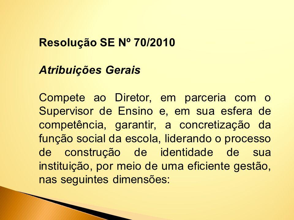 Resolução SE Nº 70/2010 Atribuições Gerais.