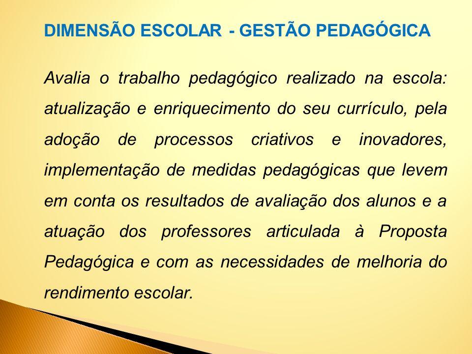 DIMENSÃO ESCOLAR - GESTÃO PEDAGÓGICA