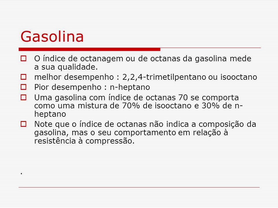 Gasolina O índice de octanagem ou de octanas da gasolina mede a sua qualidade. melhor desempenho : 2,2,4-trimetilpentano ou isooctano.