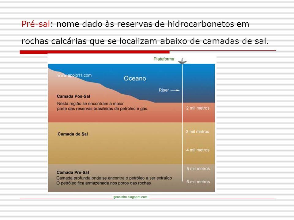 Pré-sal: nome dado às reservas de hidrocarbonetos em rochas calcárias que se localizam abaixo de camadas de sal.