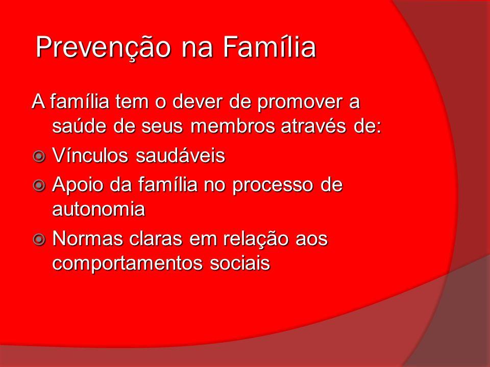 Prevenção na Família A família tem o dever de promover a saúde de seus membros através de: Vínculos saudáveis.