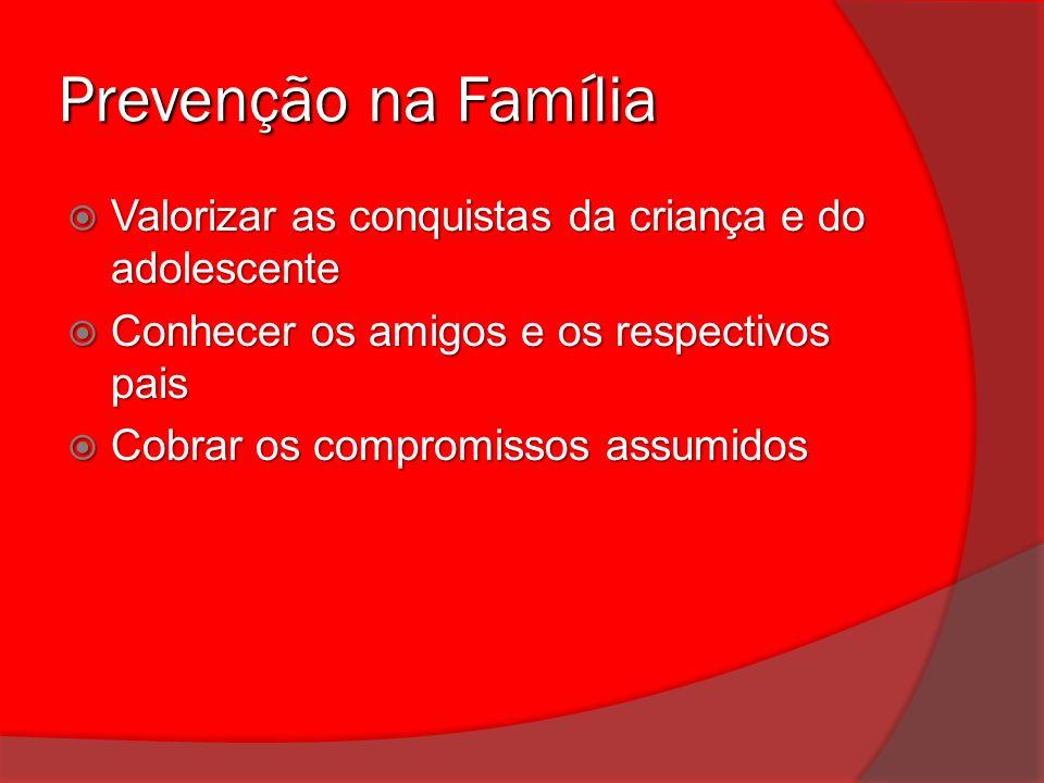 Prevenção na Família Valorizar as conquistas da criança e do adolescente. Conhecer os amigos e os respectivos pais.